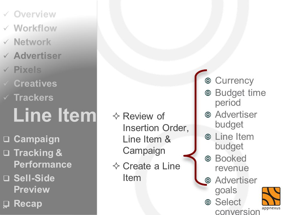 Review of Insertion Order, Line Item & Campaign Create a Line Item