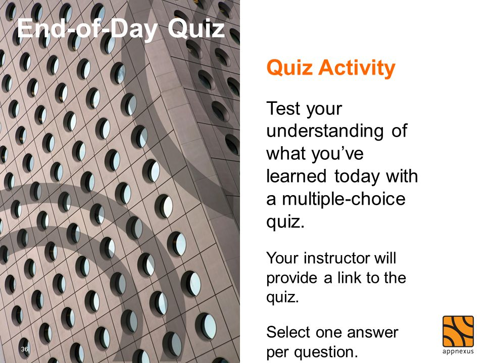 End-of-Day Quiz Quiz Activity