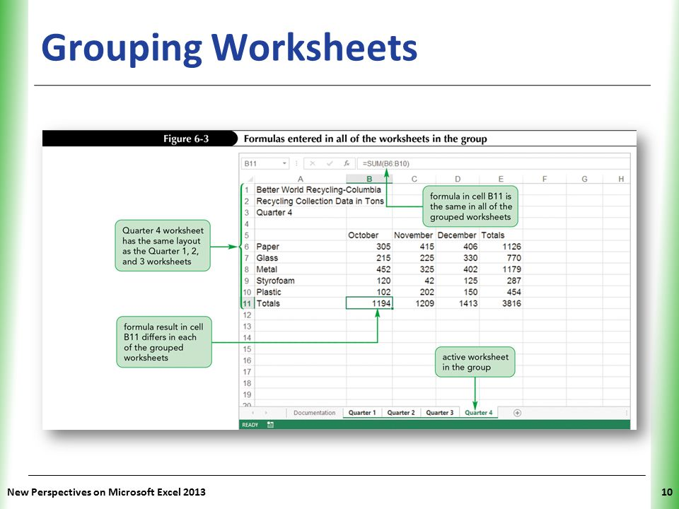 Grouping Worksheets New Perspectives on Microsoft Excel 2013