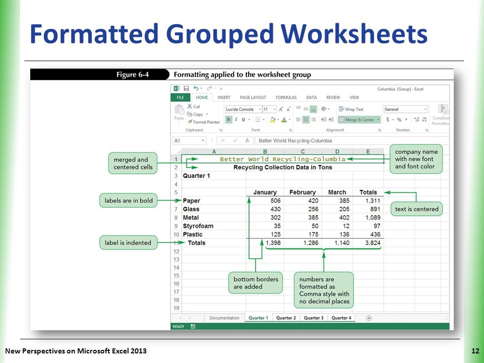 Formatted Grouped Worksheets