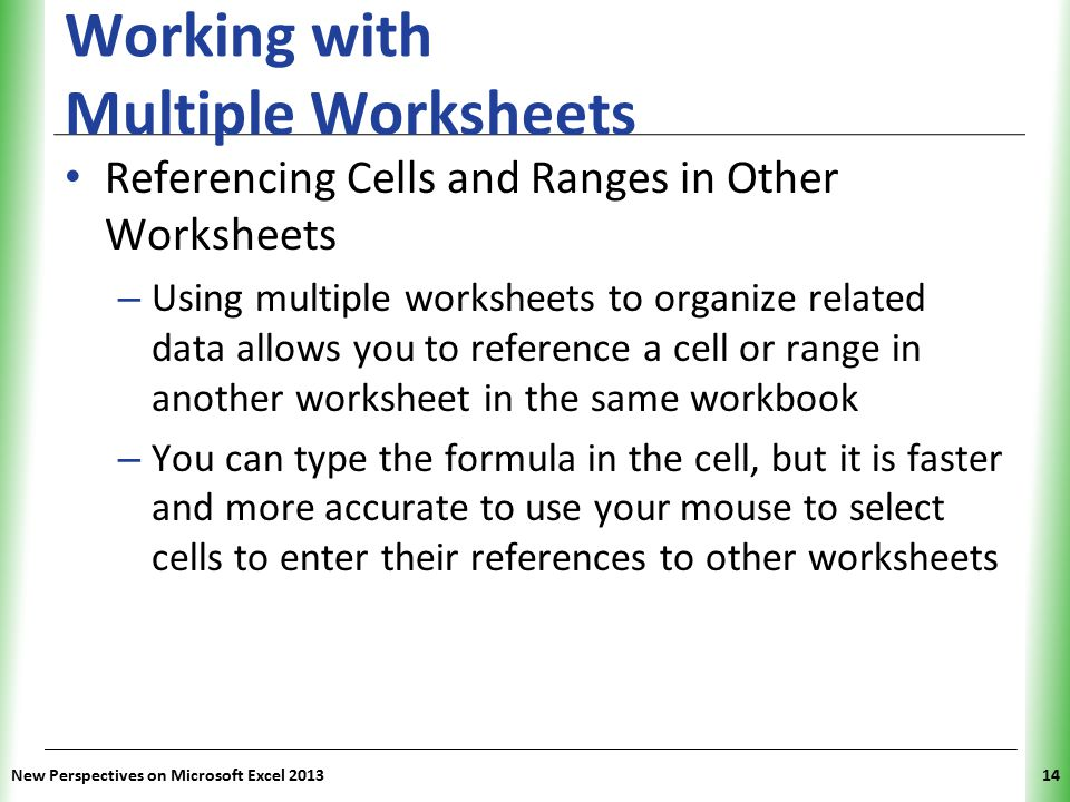 Working with Multiple Worksheets