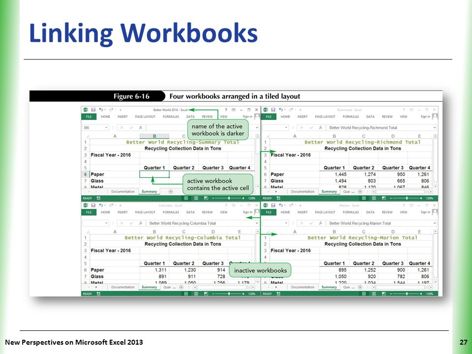 Linking Workbooks New Perspectives on Microsoft Excel 2013
