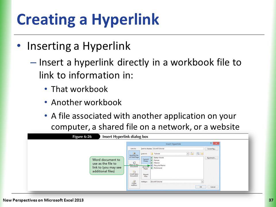 Creating a Hyperlink Inserting a Hyperlink