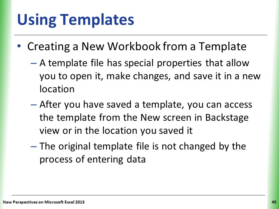 Using Templates Creating a New Workbook from a Template