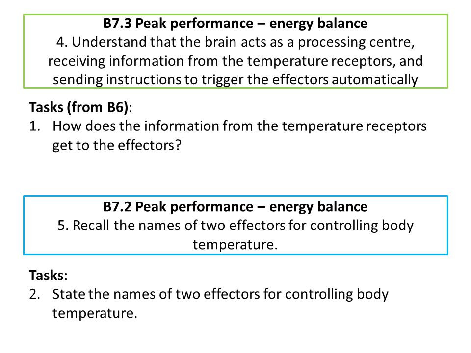 B7. 3 Peak performance – energy balance 4