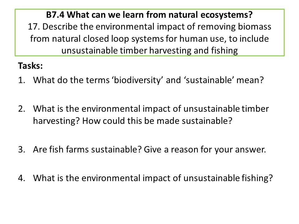 B7. 4 What can we learn from natural ecosystems. 17