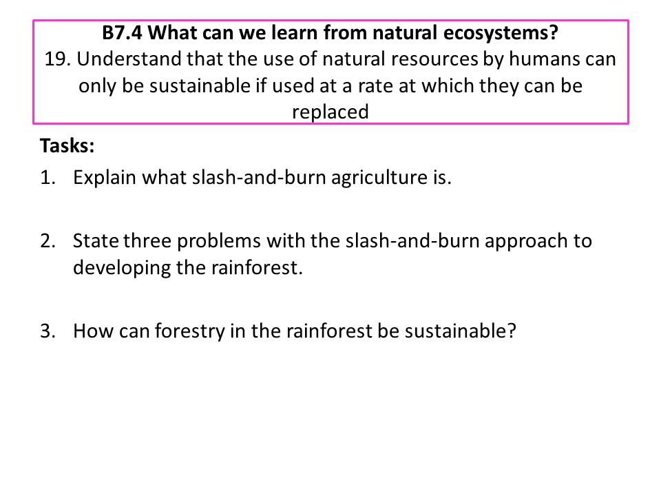 B7. 4 What can we learn from natural ecosystems. 19