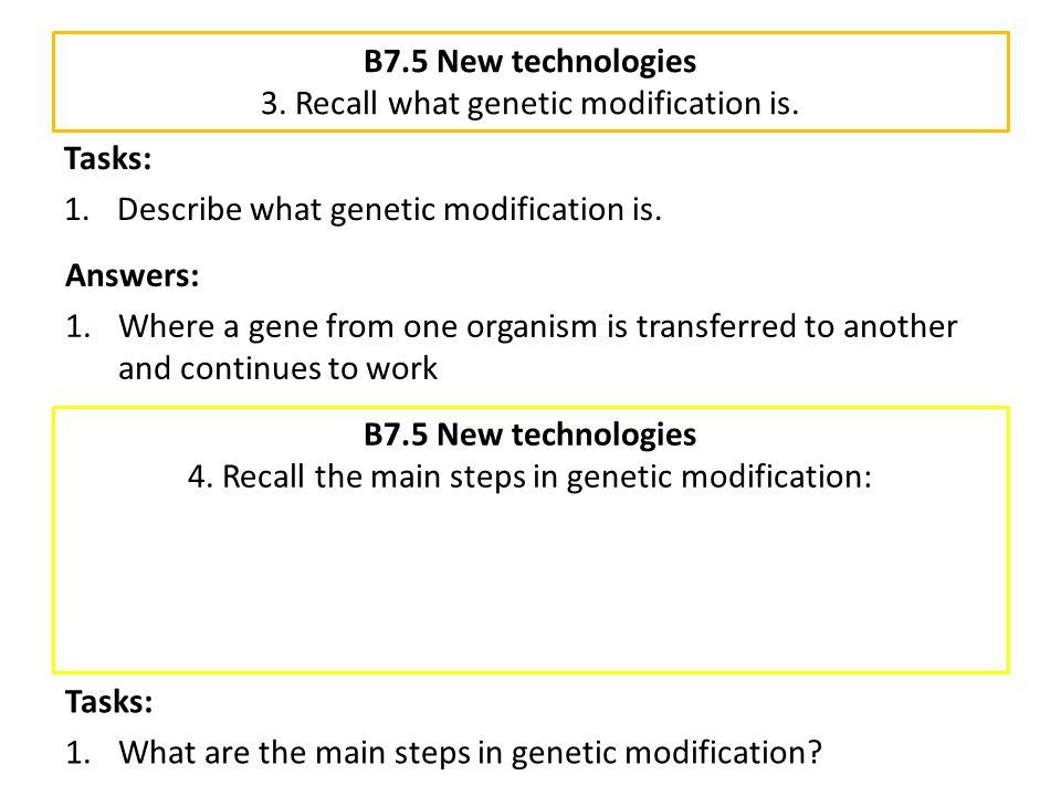 B7.5 New technologies 3. Recall what genetic modification is.