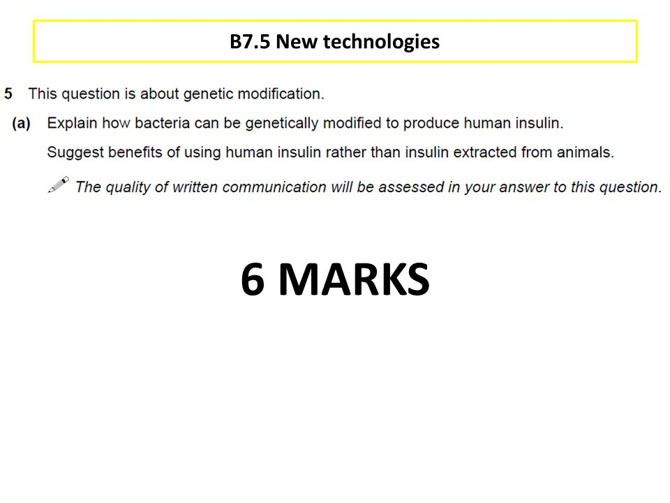 B7.5 New technologies 6 MARKS