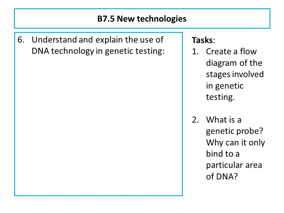 B7.5 New technologies Understand and explain the use of DNA technology in genetic testing: isolation of a DNA sample from white blood cells.