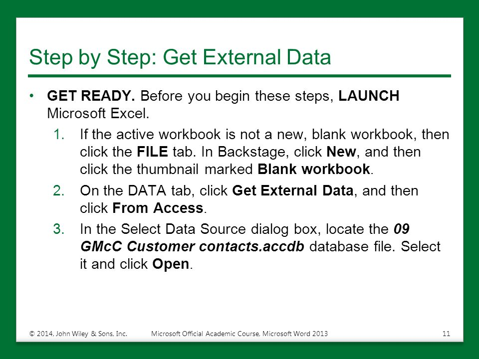 Step by Step: Get External Data