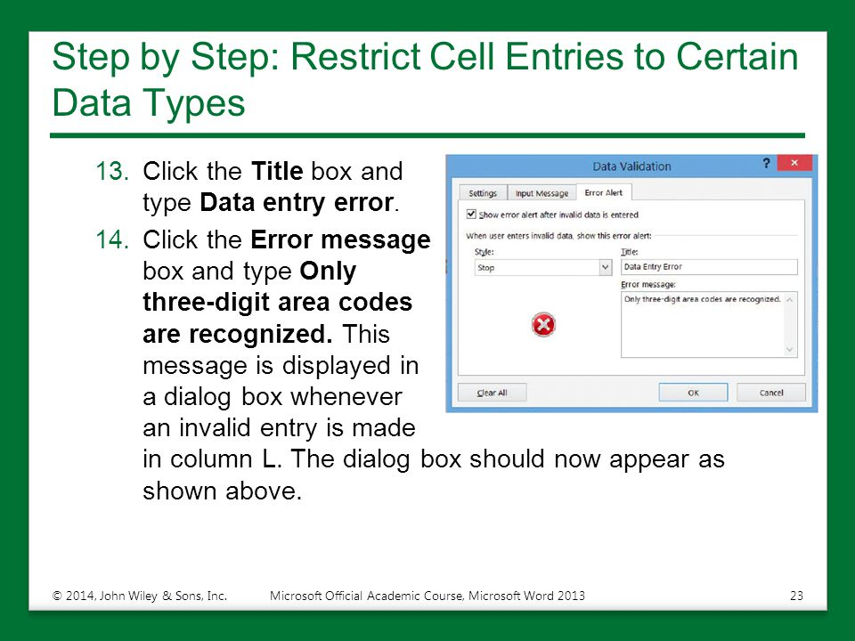 Step by Step: Restrict Cell Entries to Certain Data Types