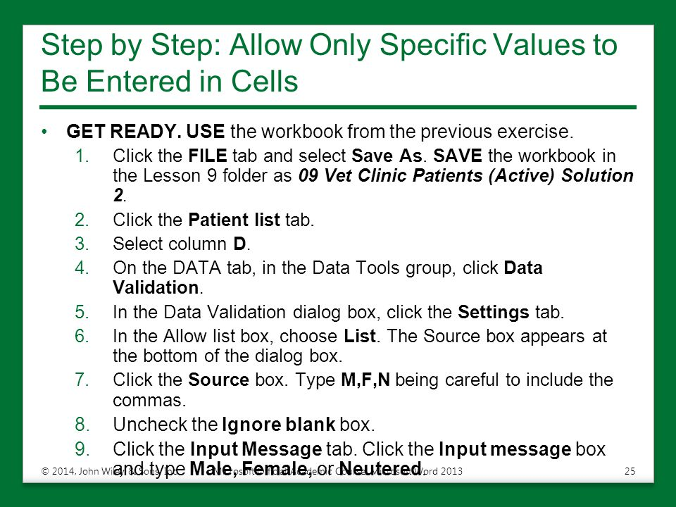 Step by Step: Allow Only Specific Values to Be Entered in Cells