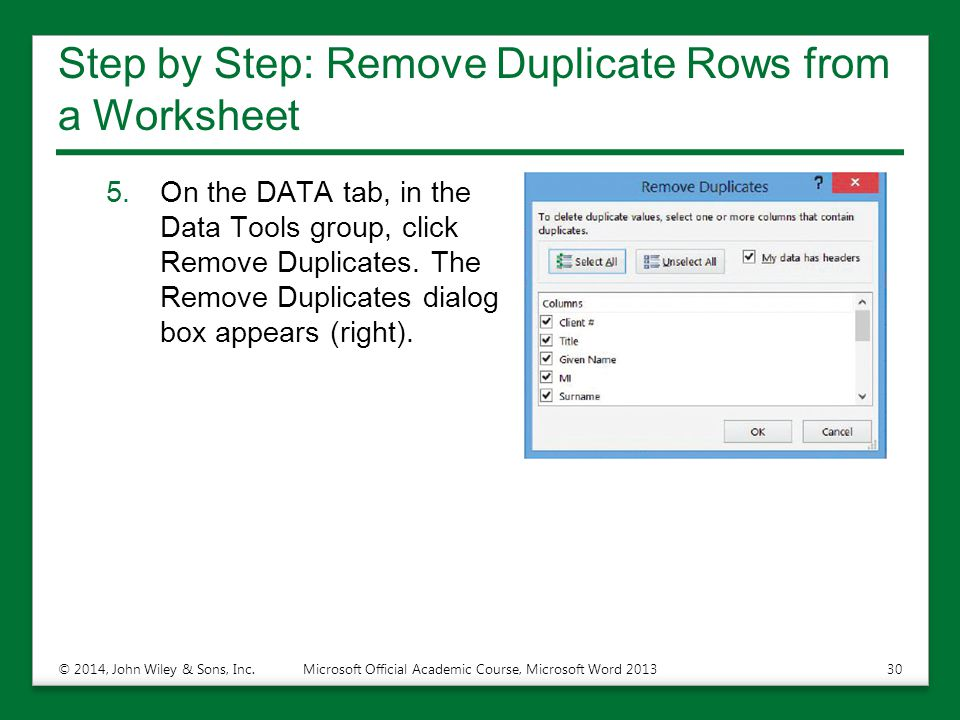 Step by Step: Remove Duplicate Rows from a Worksheet