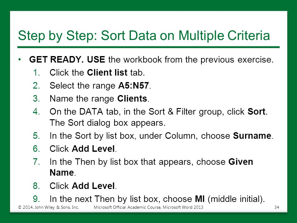 Step by Step: Sort Data on Multiple Criteria