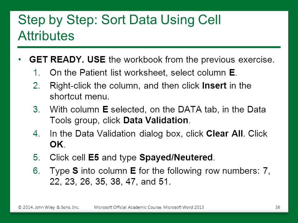 Step by Step: Sort Data Using Cell Attributes