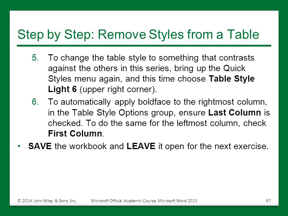 Step by Step: Remove Styles from a Table