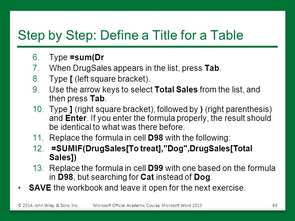 Step by Step: Define a Title for a Table