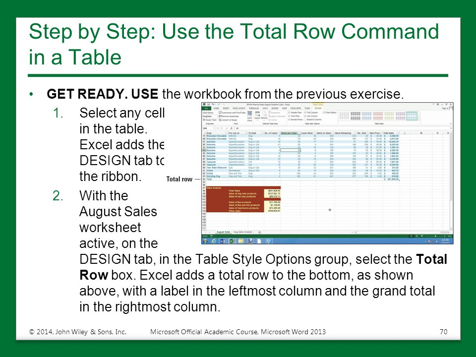 Step by Step: Use the Total Row Command in a Table