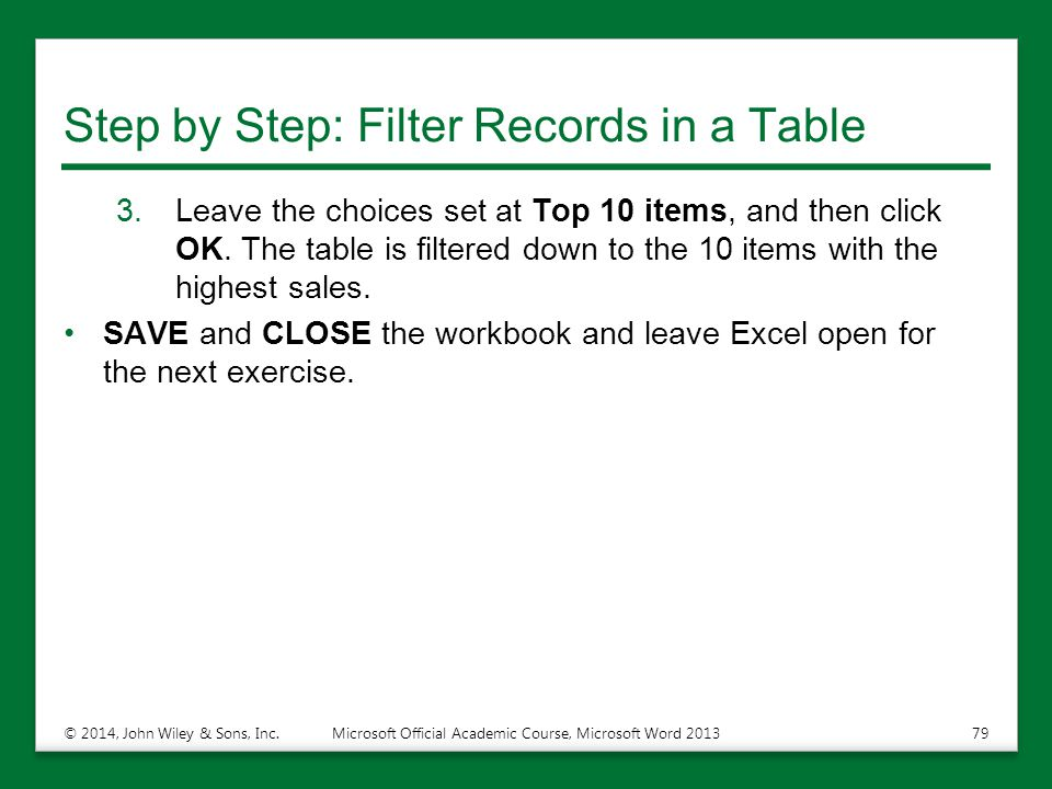 Step by Step: Filter Records in a Table