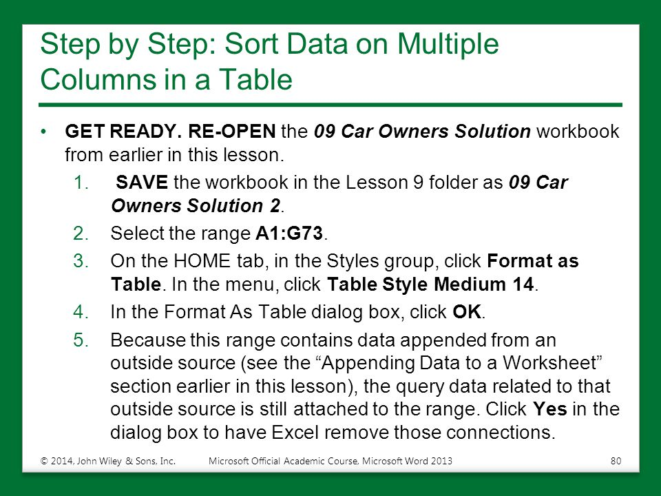 Step by Step: Sort Data on Multiple Columns in a Table