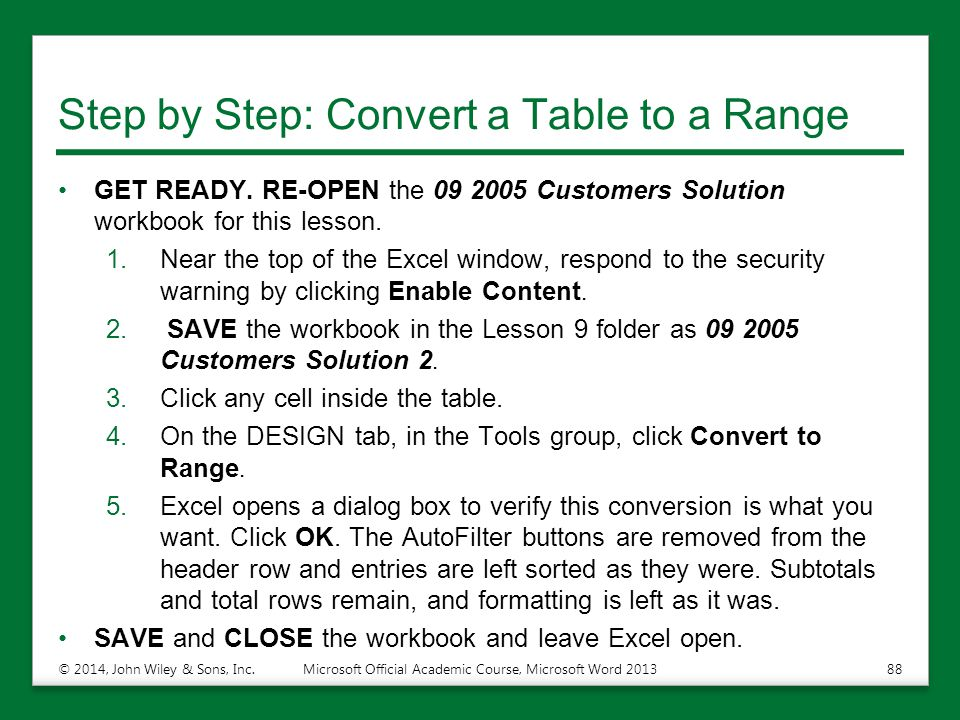 Step by Step: Convert a Table to a Range