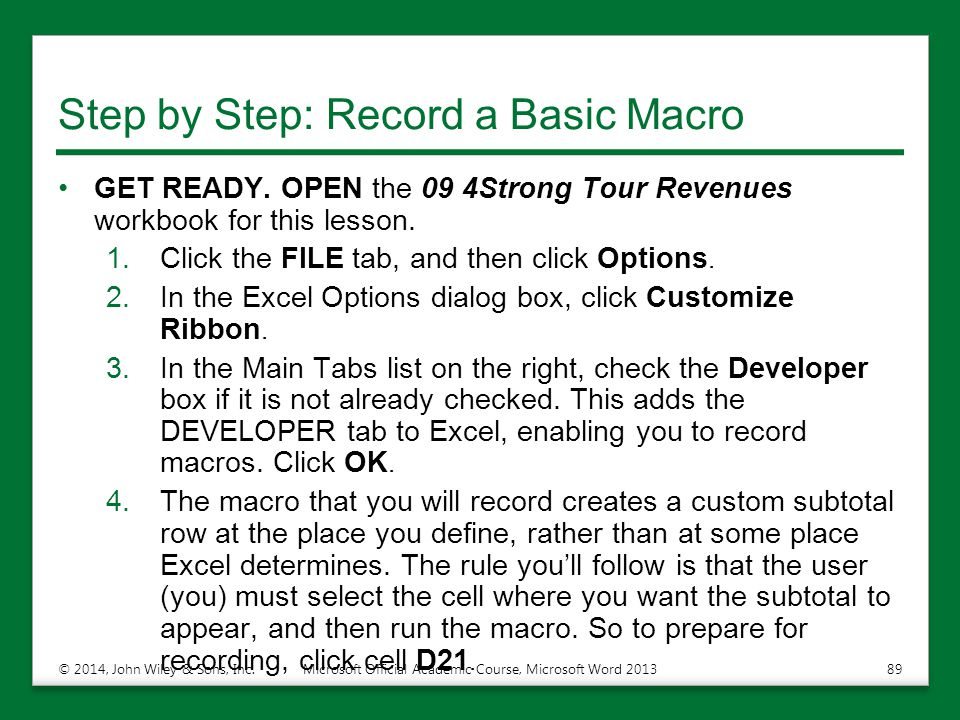 Step by Step: Record a Basic Macro