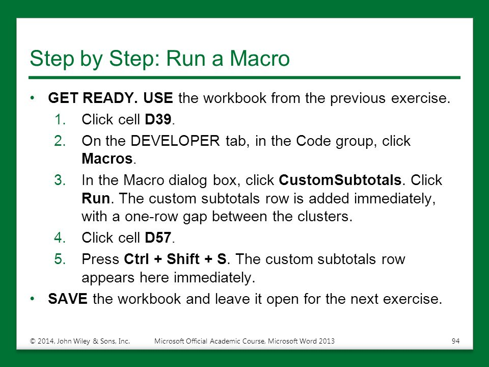 Step by Step: Run a Macro