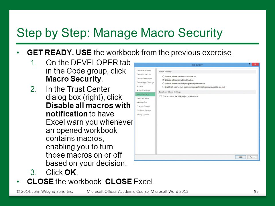 Step by Step: Manage Macro Security