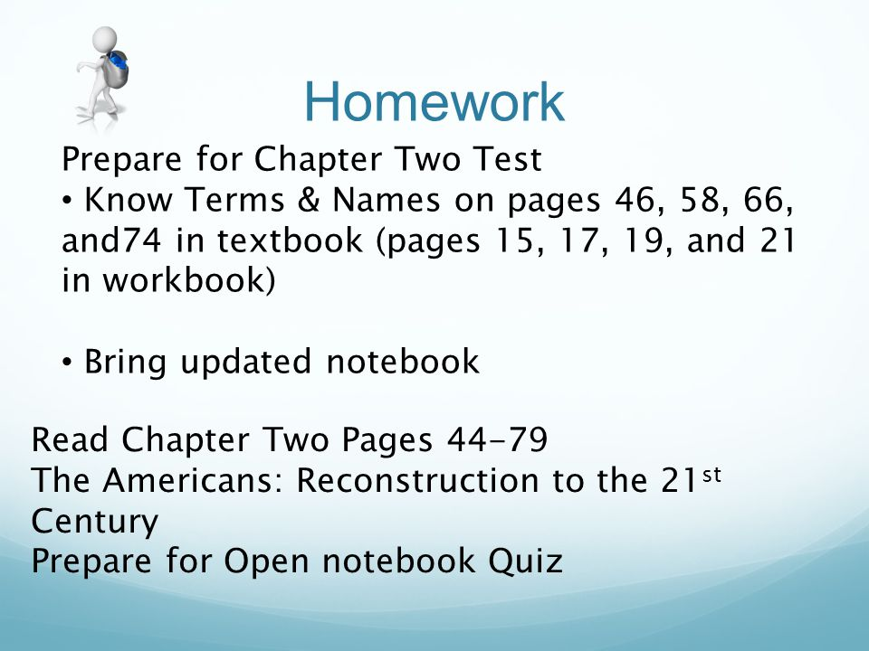 Homework Prepare for Chapter Two Test