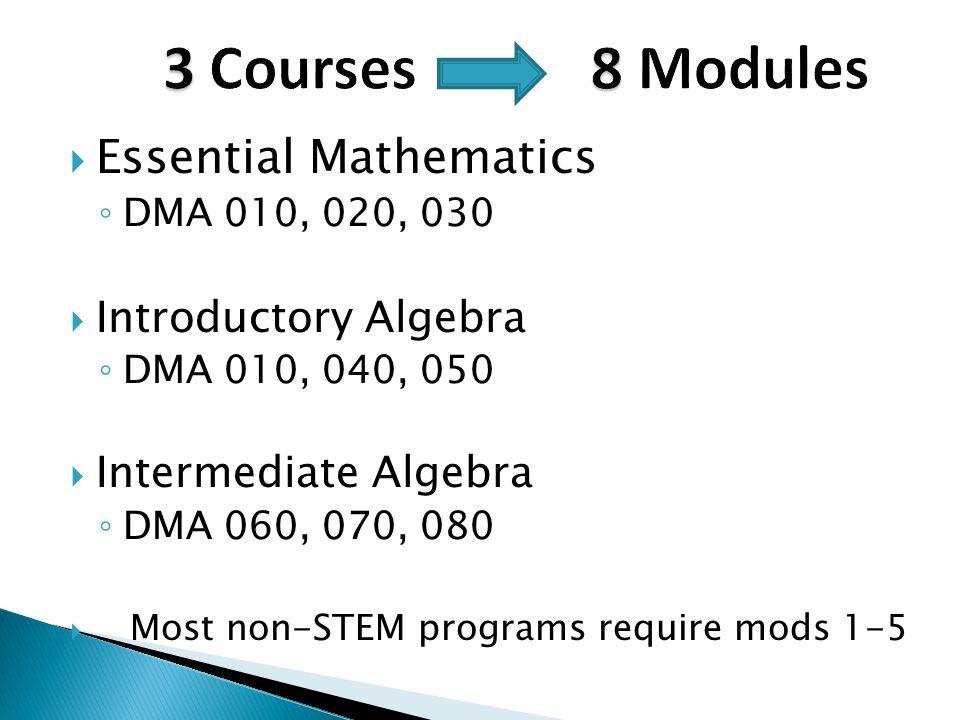 3 Courses 8 Modules Essential Mathematics Introductory Algebra
