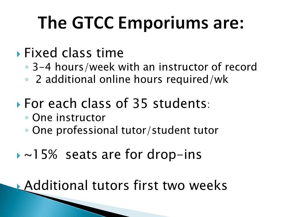 The GTCC Emporiums are: