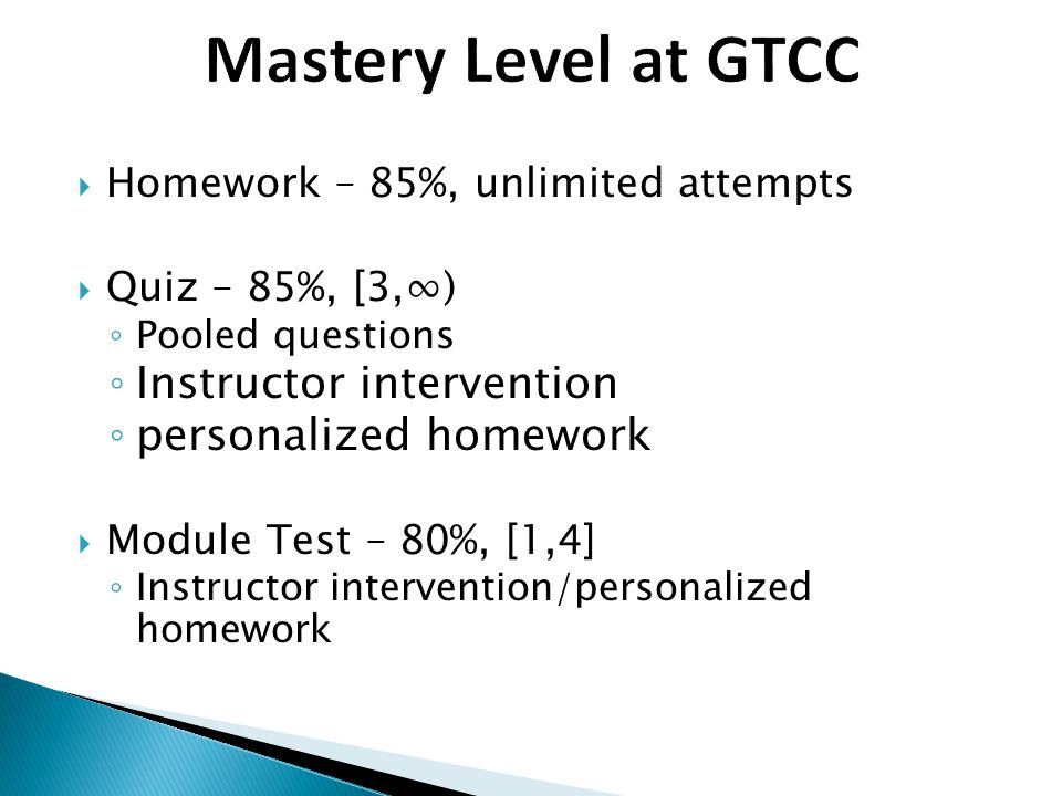 Mastery Level at GTCC Instructor intervention personalized homework