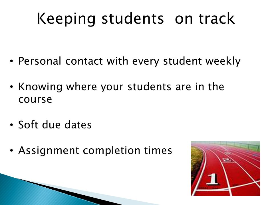 Keeping students on track