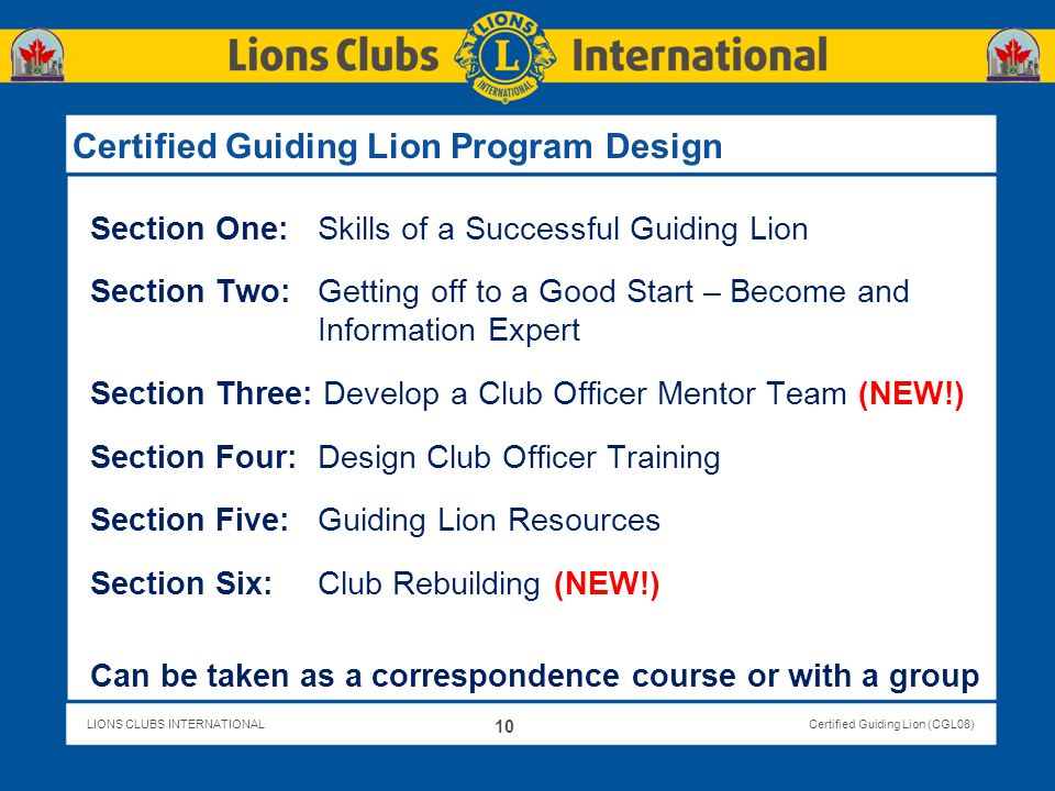 Certified Guiding Lion Program Design