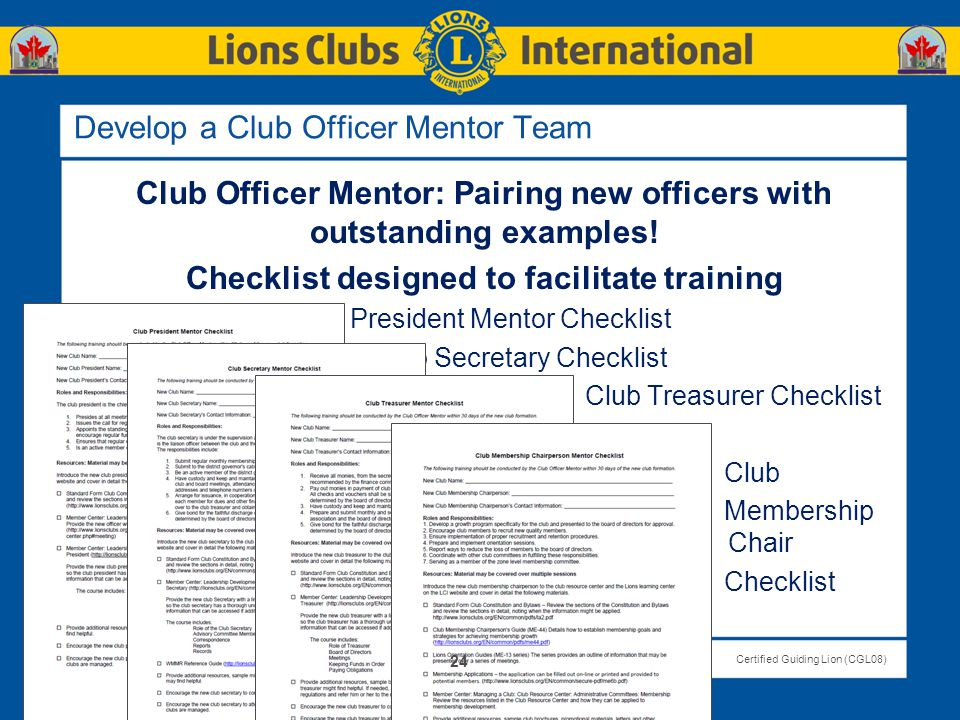 Develop a Club Officer Mentor Team