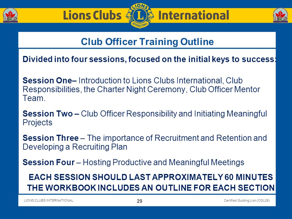 Club Officer Training Outline