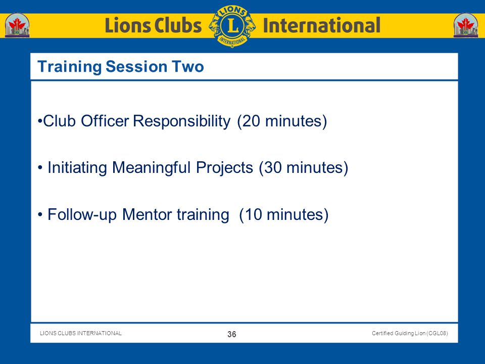 Club Officer Responsibility (20 minutes)