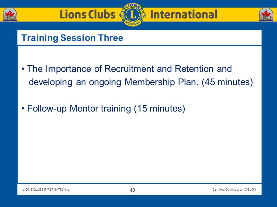 Training Session Three