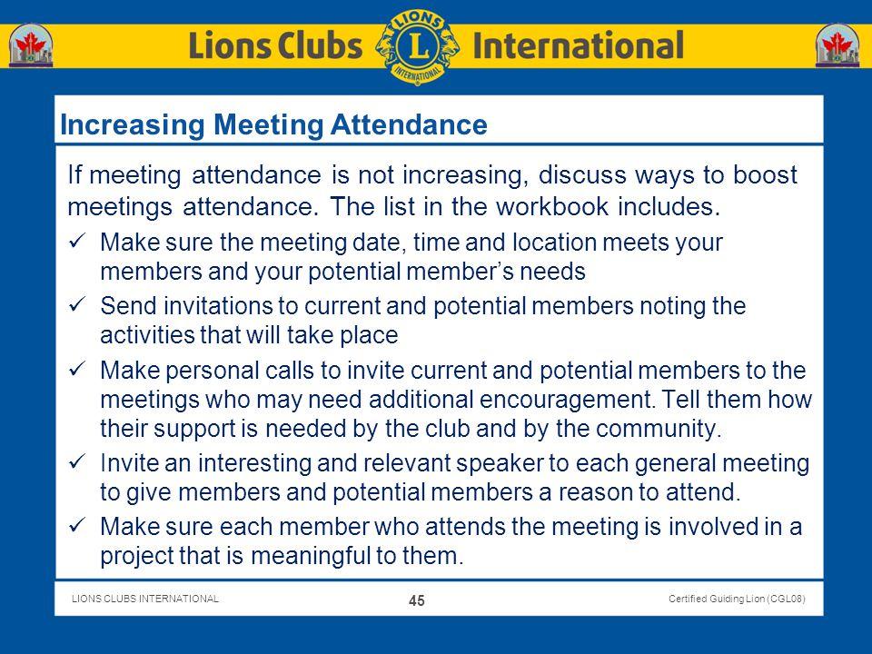 Increasing Meeting Attendance