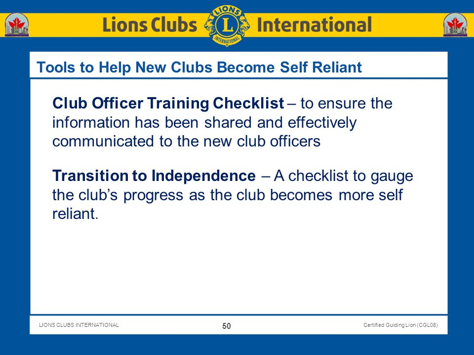 Tools to Help New Clubs Become Self Reliant