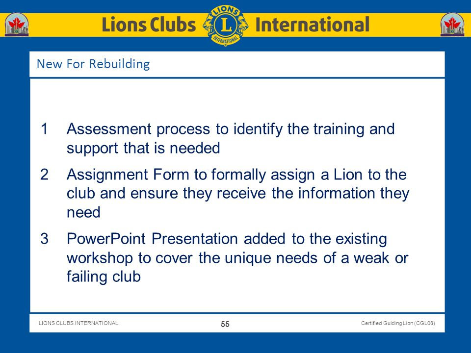 Assessment process to identify the training and support that is needed