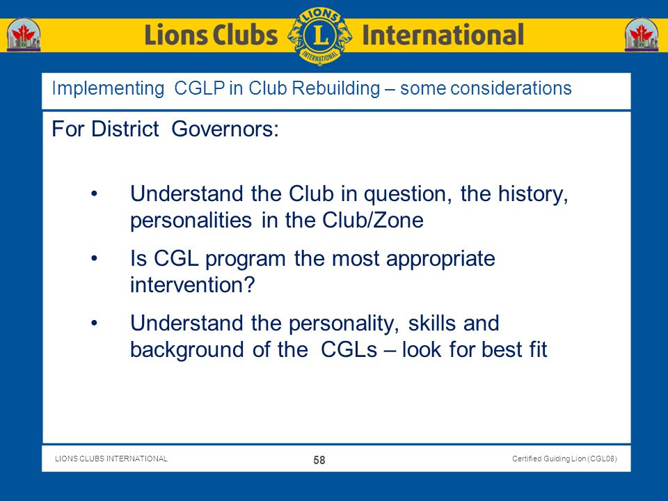 Implementing CGLP in Club Rebuilding – some considerations