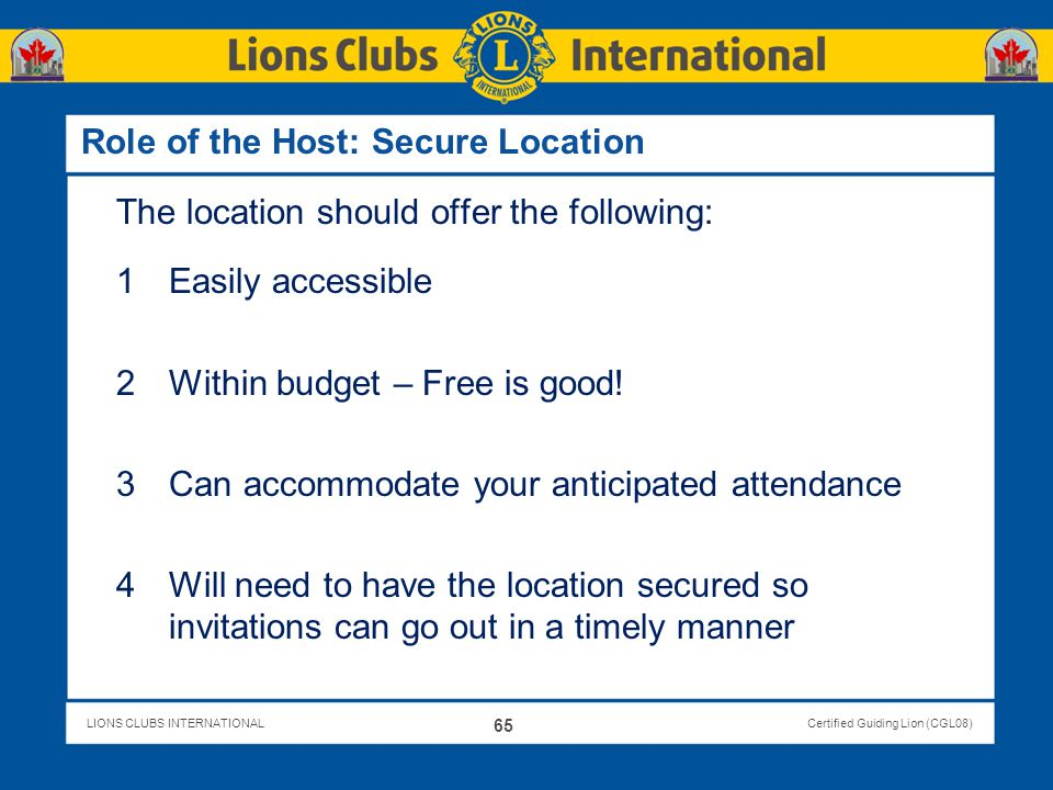 Role of the Host: Secure Location