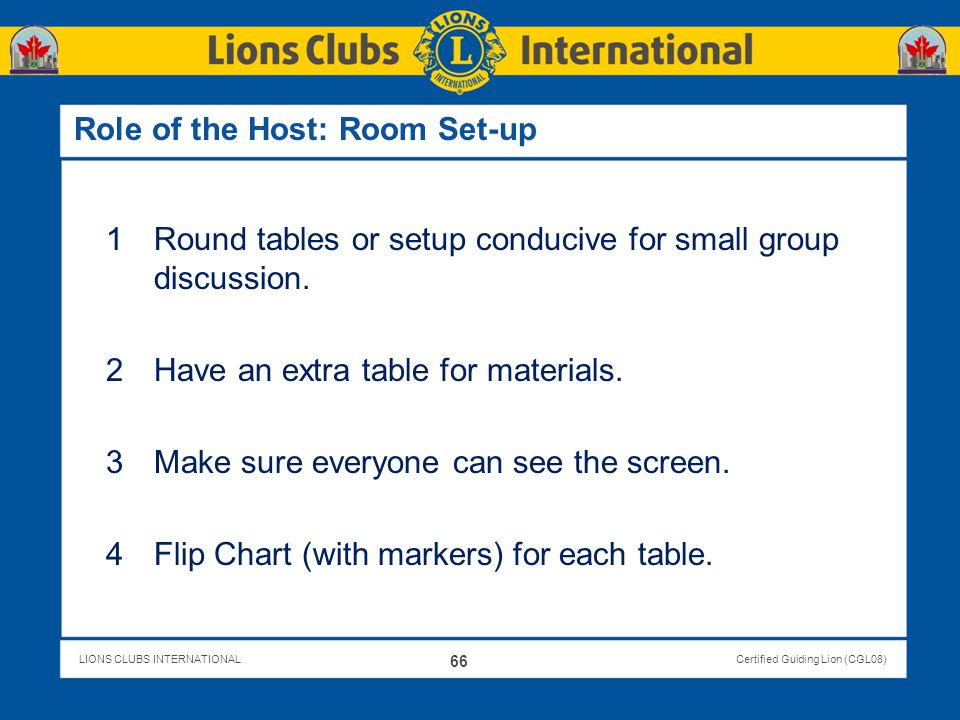 Role of the Host: Room Set-up
