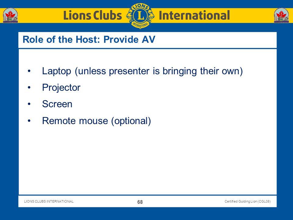 Role of the Host: Provide AV