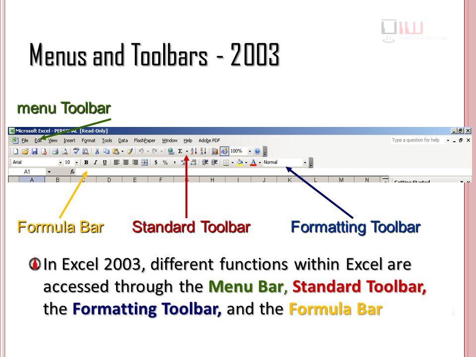 Menus and Toolbars - 2003 menu Toolbar. Formula Bar. Standard Toolbar. Formatting Toolbar.