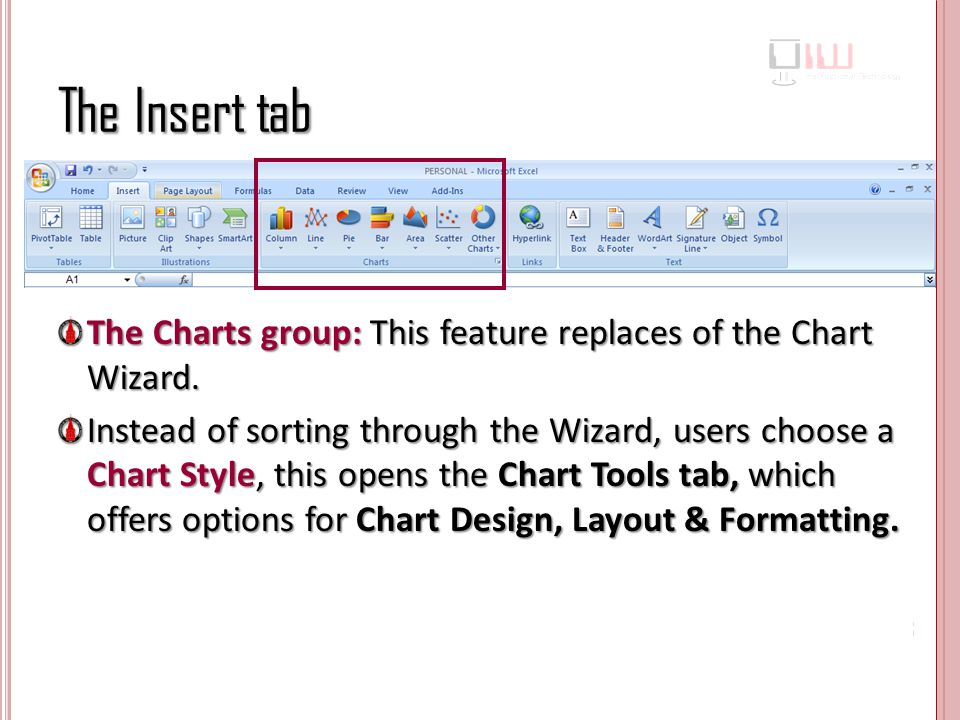 The Insert tab The Charts group: This feature replaces of the Chart Wizard.
