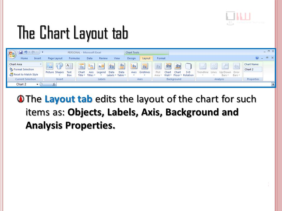 The Chart Layout tab The Layout tab edits the layout of the chart for such items as: Objects, Labels, Axis, Background and Analysis Properties.
