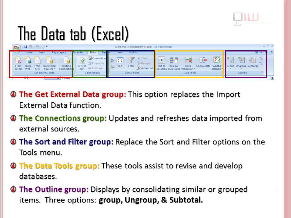 The Data tab (Excel) The Get External Data group: This option replaces the Import External Data function.